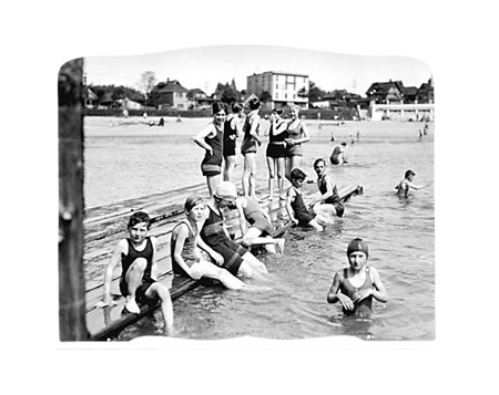 vancouver archives, fun at english bay (swimming float scene), circa 1929