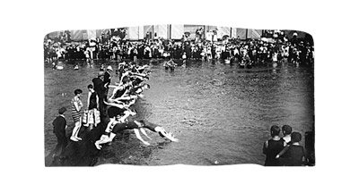 vancouver archives, men's swimming race in english bay, 1905