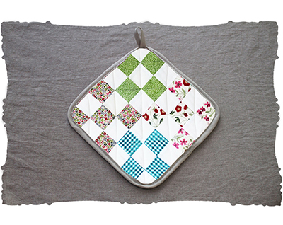 liberty floral & blue gingham nine-patch quilt