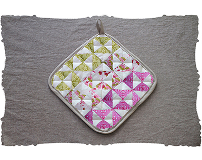 chartreuse floral triangles quilt