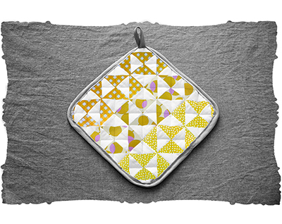 golden pindot & checked triangles quilt