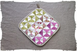 quilting triangles project kit in floral chartreuse