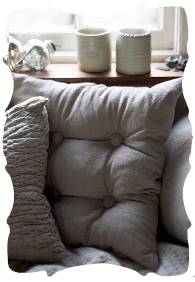 handmade tufted linen pillow