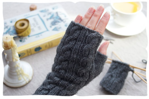 long & elegant smoke grey handwarmer kit